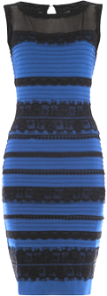 Blau schwarzes und weib goldenes kleid